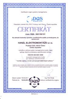 Certifikát Hanzl elektro